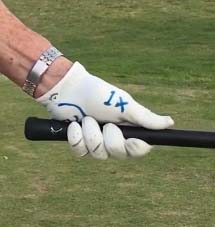 The left hand grip with a long thumb