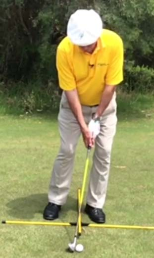 Chip shot stance with weight on the front foot